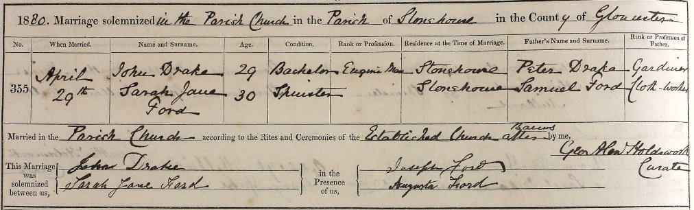 John Drake marriage certificate