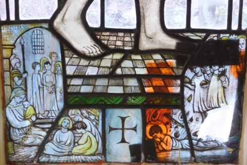 Detail of sanctuary window, West Malvern